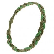 Pletený náramok zo šnúrok v dvoch odtieňoch zelenej, vrkoč
