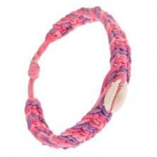 Náramok zo šnúrok ružovej, svetloružovej a fialovej farby, lastúra