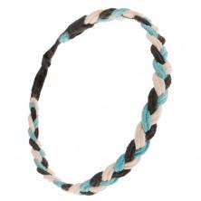 Pletený náramok z bielych, čiernych a svetlomodrých šnúrok, vrkoč