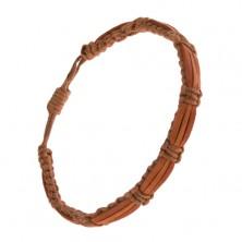Orieškovohnedý šnúrkový náramok, karamelové a škoricový pás kože