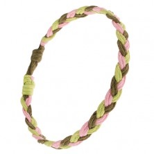 Náramok - ružové, svetlo a tmavozelené šnúrky zapletané do vrkoča