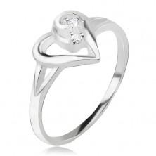 Prsteň zo striebra 925, obrys asymetrického srdca, číre kamienky