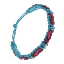Modrý šnúrkový náramok, ružovo-fialový kožený vrkoč na povrchu