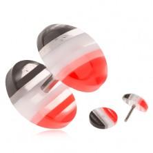 Fake plug z akrylu, vypuklé kolieska, červené, biele a čierne pruhy
