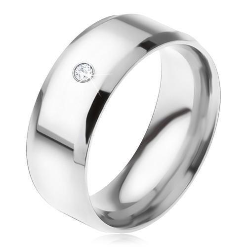 Lśniący stalowy pierścionek ścięte krawędzie przezroczysty okrągły kamyczek - Rozmiar : 70