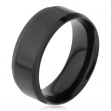 Stalowy pierścionek czarnego koloru, ścięte krawędzie