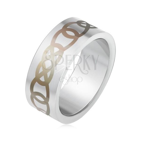 Matowy stalowy pierścionek srebrnego koloru, szary ornament z zarysów łez