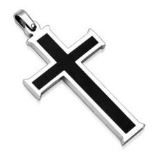 Zawieszka ze stali chirurgicznej - krzyż z czarnym środkiem