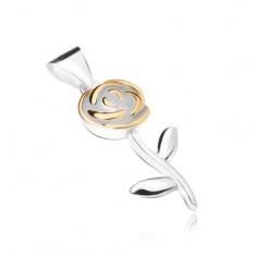Wisiorek ze srebra 925, kwiat róży z płatkami w złotym kolorze