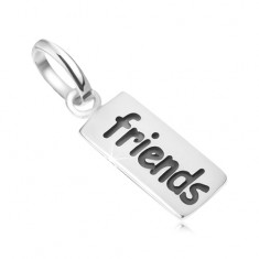 Płytka z napisem Friends, wisiorek ze srebra 925