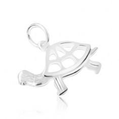 Wisiorek ze srebra 925, wycinany żółw