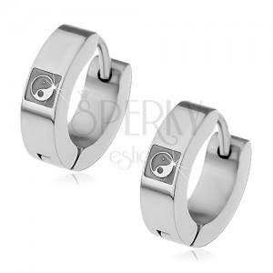 Kolczyki ze stali 316L srebrnego koloru, wydrążony symbol YIN YANG