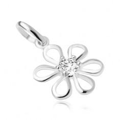 Kwiat z przezroczystą okrągłą cyrkonią pośrodku, wisiorek ze srebra 925