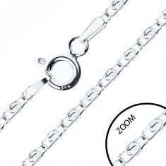 Łańcuszek ze srebra 925, przekładane oczka z eską, 2 mm