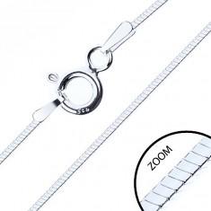 Srebrny łańcuszek 925, lśniąca czteroboczna żmijka, 1 mm
