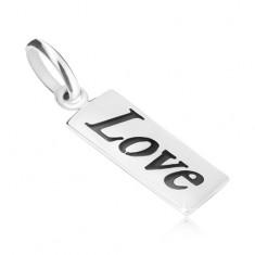 Wisiorek ze srebra 925, płytka z patynowanym napisem Love