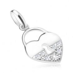 Srebrny wisiorek 925, kłódka w kształcie serca - gładka i cyrkoniowa połówka