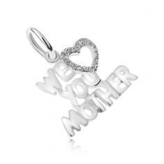Wisiorek ze srebra 925, miłosne wyznanie dla mamy, piaskowane serce