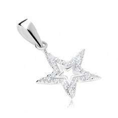 Srebrny wisiorek 925, kontury gwiazdy ozdobione przezroczystymi cyrkoniami