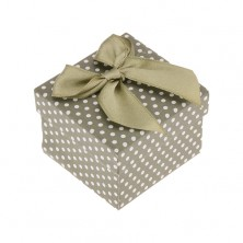 Zielone pudełeczko na biżuterię, białe kropki, lśniąca zielona kokardka