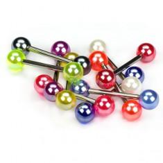 Kolczyk do języka, kolorowe perłowe kuleczki
