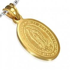 Owalny stalowy medalik w złotym kolorze, wniebowzięcie Madonny, 15 x 22 mm