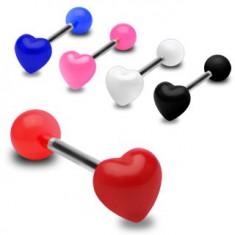 Kolorowy kolczyk do języka, lśniące symetryczne serce