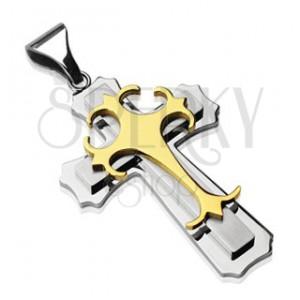Zawieszka ze stali chirurgicznej - krzyż ze złotej i srebrnej stali