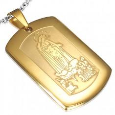Stalowy medalik w złotym kolorze, dzieci modlące się do Maryi Panny