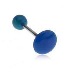 Niebieski kolczyk do języka, lśniąca gładka powierzchnia, koło