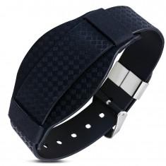 Czarna gumowa bransoletka, wzór rombów, styl zegarkowy