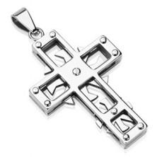Zawieszka ze stali chirurgicznej - krzyż z kółeczkami