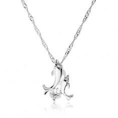 Naszyjnik srebrnego koloru z wisiorkiem w postaci dwóch skaczących delfinów, cyrkonia