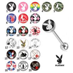 Stalowy kolczyk do języka - różne motywy Playboy