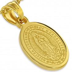 Stalowy medalik w złotym kolorze, wniebowzięcie Maryi Panny, 13 x 19 mm
