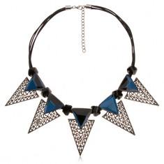 Naszyjnik, masywne trójkątne ozdoby, czarne asymetryczne wałeczki, niebieskie cyrkonie