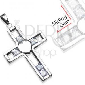Zawieszka ze stali chirurgicznej - krzyż z ruchomym kamyczkiem