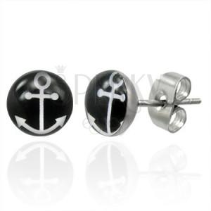 Stalowe kolczyki wkręty z białym symbolem kotwicy na czarnym okręgu