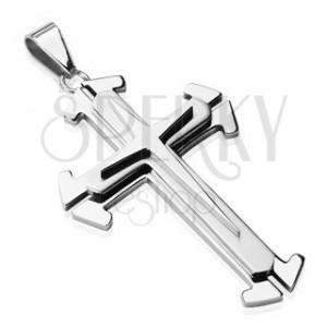 Stalowa zawieszka w srebrnym odcieniu - potrójny krzyż
