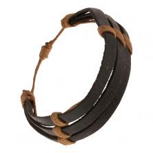Czarna skórzana bransoletka - trzy paski przewiązane brązowym sznurkiem