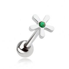 Oceľový piercing do jazyka, kvet so zeleným zirkónom