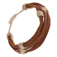 Bransoletka - trzy kasztanowo brązowe paseczki skóry przewiązane beżowym sznurkiem