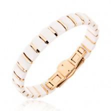 Biała bransoletka z prostokątnych ceramicznych ogniw, paski złotego koloru