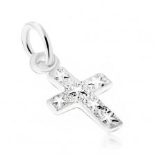 Srebrny wisiorek 925, grawerowany krzyż z gwiazdami na powierzchni