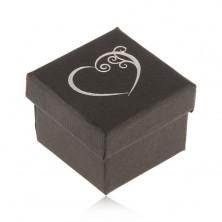 Czarne pudełeczko na pierścionek, małe ozdobne serce srebrnego koloru