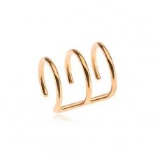 Stalowy fake piercing do ucha w złotym kolorze, potrójne kółko