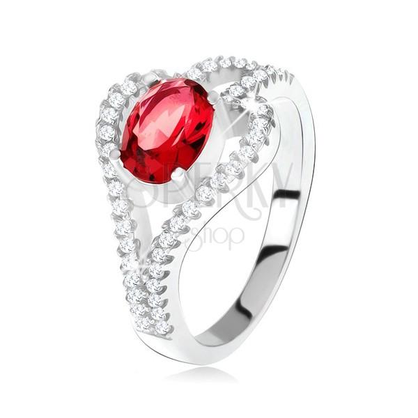 Pierścionek ze srebra 925, owalny czerwony kamień, przezroczyste kontury liścia