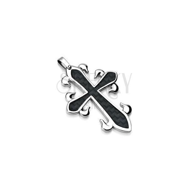 Zawieszka ze stali chirurgicznej - krzyż z czarnym przeplatanym wzorem