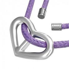 Wisiorek serce na fioletowym sznurku