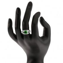 Pierścionek ze srebra 925, kwadratowa zielona cyrkonia, przezroczyste prostokątne kamyczki